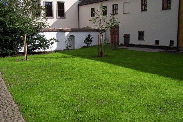 ... Innenhof Mit Rasen Und Bäumen ...